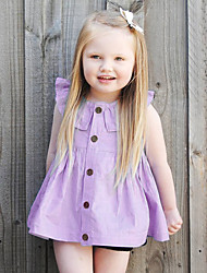 cheap -Baby Girl's Daily Solid Dress,Cotton Linen Bamboo Fiber Acrylic Spring Simple Sleeveless Purple