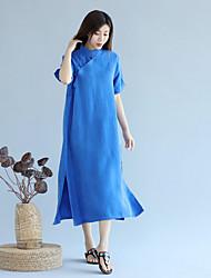 cheap -Women's Daily Vintage Loose Dress,Solid Stand Midi Half Sleeve Linen All Season High Rise Micro-elastic Thin