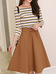 cheap -Women's Casual/Daily Simple Fall T-shirt Skirt Suits,Solid Striped Off Shoulder Long Sleeves Cotton