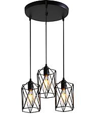 cheap -3-Head Vintage Black Metal Cage Shade Pendant Lights Living Room Dining Room Light Fixture Painted Finish