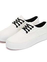 preiswerte -Damen Schuhe Leinwand Frühling Herbst Komfort Sneakers Flacher Absatz Geschlossene Spitze für Draussen Weiß Schwarz Leicht Grün