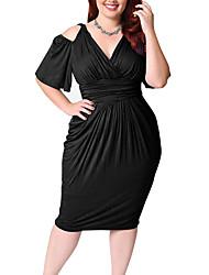 cheap -Women's Party Holiday Street chic Loose Sheath Dress,Solid V Neck Above Knee Short Sleeve Cotton Acrylic All Season Mid Waist
