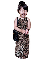 cheap -Girl's Daily Going out Leopard Dress, Cotton Summer Sleeveless Simple Street chic Beige