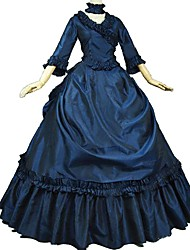 cheap -Victorian Rococo Costume Adults' Masquerade Party Costume Ink Blue Vintage Cosplay Taffeta 3/4 Length Sleeves Puff/Balloon Sweep / Brush