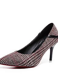 preiswerte -Damen Schuhe PU Winter Komfort Pumps High Heels Stöckelschuh Spitze Zehe für Kleid Grau Khaki
