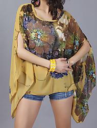 baratos -Mulheres Blusa Moda de Rua Manga Morcego Estampado,Floral Oversized