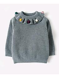 cheap -Girls' Solid Sweater & Cardigan, Cotton Spring Long Sleeves Blushing Pink Gray
