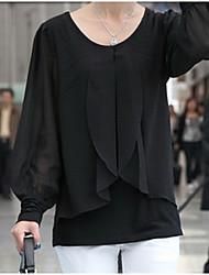 baratos -Mulheres Blusa Básico Com Babado Sólido