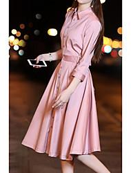 abordables -Ample Robe Quotidien Rétro,Couleur Pleine Col de Chemise Mi-long Manches longues Polyester Toute Saison Taille Haute Micro-élastique Fin