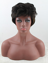 cheap -Synthetic Wig Curly With Bangs Density Capless Brown Party Wig Natural Wigs Short Synthetic Hair