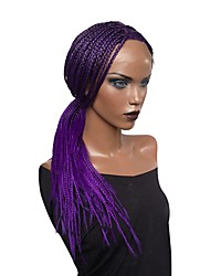 Недорогие -Синтетические кружевные передние парики Кудрявый Ассиметричная стрижка Искусственные волосы Парик Faux Locs / Природные волосы / Парик с косичками Фиолетовый Парик Жен. Длинные Лента спереди