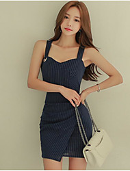 cheap -Women's Going out Simple A Line Dress,Color Block Strap Above Knee Sleeveless Cotton Spring Fall Mid Rise Micro-elastic Opaque
