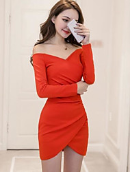 cheap -Women's Holiday Vintage Sheath Dress,Solid V Neck Above Knee Long Sleeve Cotton Winter Fall Mid Rise Micro-elastic Opaque