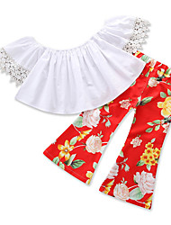 cheap -Girls' Going out Holiday Floral Clothing Set, Cotton Summer Short Sleeves Casual Street chic Red