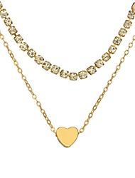 Недорогие -Жен. Слоистые ожерелья - Сердце Простой, Мода Золотой, Серебряный Ожерелье Назначение Повседневные, Праздники