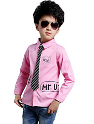 cheap -Boys' Solid Striped Letter Shirt,Cotton Spring Fall Long Sleeve Simple Blushing Pink Black White