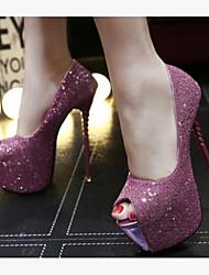 preiswerte -Damen Schuhe Paillette PU Sommer Komfort High Heels Stöckelabsatz Peep Toe für Draussen Schwarz Rot