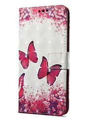 abordables -Coque Pour OnePlus OnePlus 5T 5 Porte Carte Portefeuille Avec Support Clapet Magnétique Motif Coque Intégrale Papillon Dur faux cuir pour