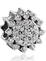 cheap -DIY Jewelry 1 pcs Beads Imitation Diamond Alloy White Blue Flower Bead 0.2 cm DIY Necklace Bracelet