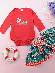 cheap -Girls' Daily Holiday Solid Polka Dot Animal Print Clothing Set, Cotton All Seasons Long Sleeves Cute Red
