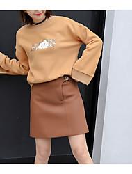 abordables -Mujer Tallas pequeñas Sudadera Noche Casual Estampado Escote Redondo Sin Forro Microelástico Poliéster Mangas largas Invierno
