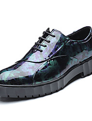 Недорогие -Муж. Печать Оксфорд Полиуретан Весна / Осень Удобная обувь Туфли на шнуровке Черный / Синий