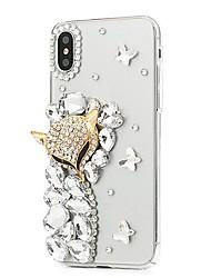 Недорогие -Кейс для Назначение Apple iPhone X iPhone 8 Plus Стразы С узором Чехол Цветы Твердый Кожа PU для iPhone X iPhone 8 Pluss iPhone 8 iPhone