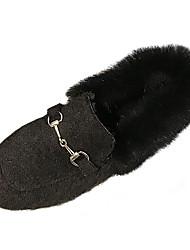 Недорогие -Жен. Обувь Полиуретан Весна Удобная обувь Мокасины и Свитер На плоской подошве Круглый носок Черный / Миндальный