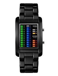 Недорогие -SKMEI Для пары Спортивные часы Цифровой 50 m Защита от влаги Фосфоресцирующий Повседневные часы сплав Группа Цифровой Роскошь На каждый день Мода Черный / Серебристый металл - Черный Серебряный
