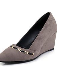abordables -Femme Chaussures Laine synthétique Printemps / Eté Confort Chaussures à Talons Hauteur de semelle compensée Gris / Rouge / Vert / Habillé