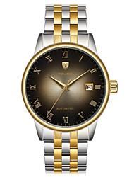 preiswerte -Herrn Mechanische Uhr Chinesisch Automatikaufzug Wasserdicht Edelstahl Band Luxus Freizeit Cool Schwarz Weiß Silber Gold