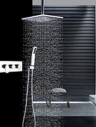 abordables -Moderne Montage au plafond Douche pluie Douchette inclue Soupape céramique Trois poignées trois trous Chrome, Robinet de douche