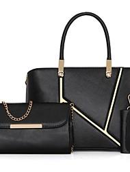 baratos -Mulheres Bolsas PU Conjuntos de saco 3 Pcs Purse Set Ziper Preto / Vermelho / Fúcsia