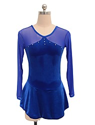 abordables -Robe de Patinage Artistique Femme Fille Patinage Robes Bleu royal Tenue de Patinage Paillette Manches Longues Patinage Artistique