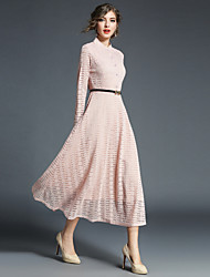 cheap -Women's Swing Dress - Solid, Lace Maxi Stand