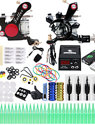 cheap -Tattoo Machine Professional Tattoo Kit 2 alloy machine liner & shader High Quality LCD power supply 2 x aluminum grip 50 Classic Daily