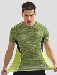 preiswerte -Herrn Laufshirt Kurzarm Schnelles Trocknung, Atmungsaktivität T-shirt für Übung & Fitness / Laufen Nylon Gelb / Blau M / L / XL