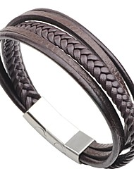 cheap -Men's Stainless Steel Leather 1pc Bracelet - Casual Fashion Circle Black Coffee Bracelet For Going out Street