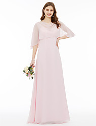 cheap -A-Line Cowl Neck Floor Length Chiffon Bridesmaid Dress with Pleats by LAN TING BRIDE®