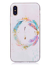 abordables -Funda Para Apple iPhone X iPhone 8 IMD Diseños Cubierta Trasera Plumas Suave TPU para iPhone X iPhone 8 Plus iPhone 8 iPhone 7 Plus