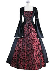 cheap -Victorian Rococo Costume Women's Adults' Dress Blue/Black Vintage Cosplay Flocking Reasonable Pleuche Long Sleeves Bell Ankle Length
