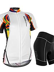 economico -Nuckily Per donna Manica corta Maglia con pantaloncini da ciclismo - Bianco Floral / botanico Geometrico Bicicletta Pantaloncini