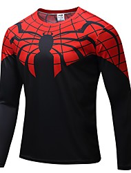cheap -Men's Running T-Shirt Long Sleeves Breathability T-shirt Sweatshirt for Exercise & Fitness Outdoor Exercise Running Polyester White Red