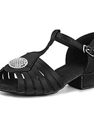 baratos -Sapatos de Dança Latina Cetim / Gliter Sandália / Salto Treino Pedrarias / Presilha Salto Robusto Personalizável Sapatos de Dança Preto