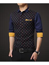 cheap -Men's Cotton Shirt Print / Long Sleeve