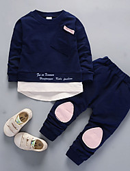 cheap -Boys' Daily Solid Clothing Set, Nylon Fall Long Sleeves Casual Blushing Pink Navy Blue Light Green Light Blue