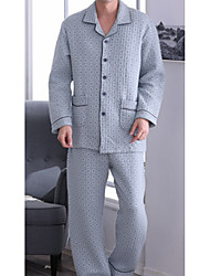 cheap -Men's Suits Pajamas,Floral Polyester Gray Blue