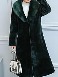 Недорогие -Жен. Повседневные Зима Длинная Пальто с мехом Лацкан с острым углом, На каждый день Однотонный Хлопок