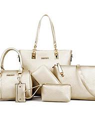 cheap -Women's Bags PU Bag Set 6 Pieces Purse Set Zipper for Casual Outdoor Winter Fall Gold Black Beige Dark Blue