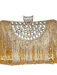 cheap -Women's Bags PU Evening Bag Buttons Crystal Detailing Tassel for Casual All Seasons Gold